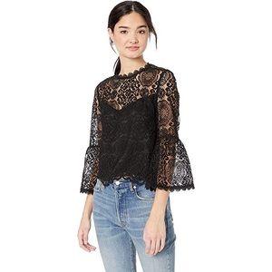 [BB Dakota] Black Lace Bell Sleeve Top